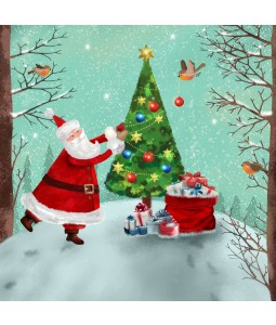 A Christmas card pack with Santa decorating the tree