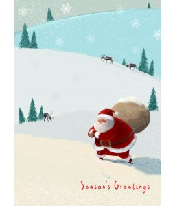 A Christmas card pack with Santa carrying his bag of presents