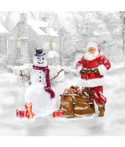 A Christmas card pack with Santa and a Snowman
