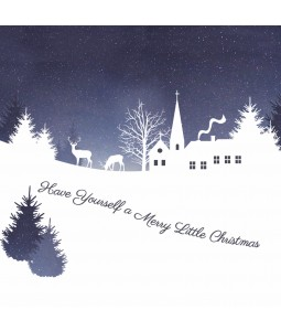 A Christmas card pack with a village scene in snow