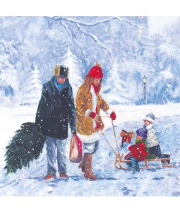 A Christmas card pack with an image of a family walk in the Snow