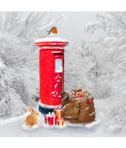 A Christmas card pack with an image of Robin on a Post box