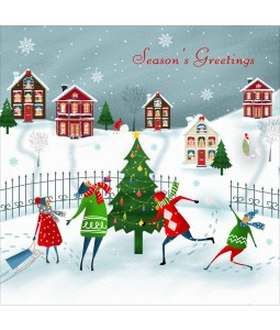 A Christmas card pack with a family having fun in the snow