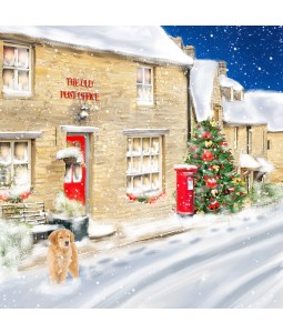 A Christmas card pack with the the village Post Office in the snow