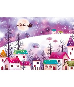 A Christmas card pack with an image of a snowy village at Christmas
