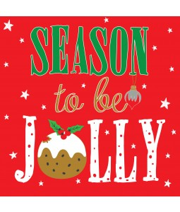 A Christmas card pack with 'Season to be Jolly' in bright letters