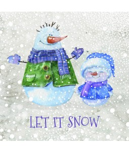 A Christmas card pack with two happy Snowmen