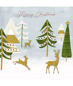 A Christmas card pack with a modern image of reindeers amongst trees