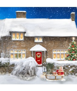 A Christmas card pack with a lovely cottage covered in snow