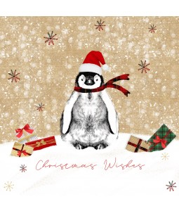 A Christmas card pack with a Penguin in the snow