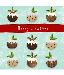 A Christmas card pack with Christmas Puddings
