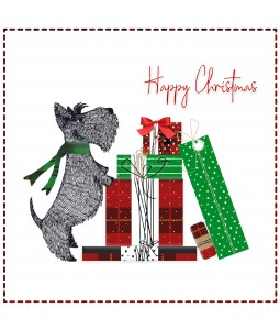 A Christmas card pack with a Festive Scottie Dog and presents