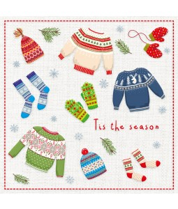 A Christmas card pack with Christmas Jumpers, socks and mittens