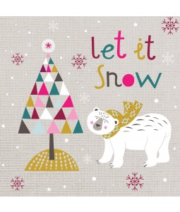 A Christmas card pack with a cartoon Polar Bear and Tree