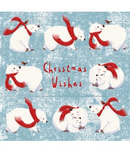 A Christmas card pack with Polar Bears having fun