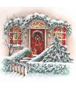 A traditional Christmas card pack with a lovely Christmas door