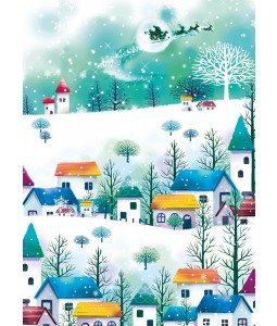 A Christmas card pack with Santa flying over lovely village