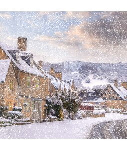 A Christmas card pack with an image of a street covered in Snow.
