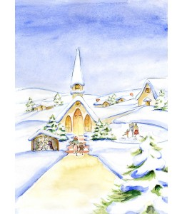 A Christmas card pack with a picture of a village church