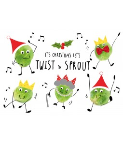 A fun Christmas card pack with sprouts dancing.