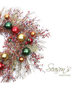 A Christmas card pack with a lovely festive wreath featuring shiny baubles
