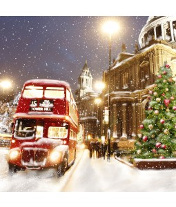 A Christmas card pack with a snowy scene featuring a Red London bus.