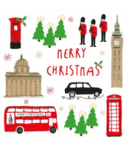 A Christmas card pack with various well known London sights including Big Ben, Red Bus and Buckingham Palace Guards