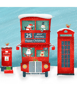 Santa's Bus - Small Christmas Card Pack