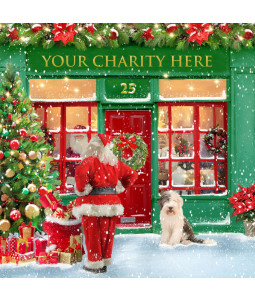 A Christmas card pack with Santa looking in a shop window