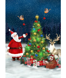 Santa Decorating the Tree - Christmas Card Pack