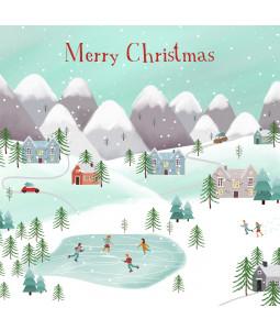 Ice Skating Scene - Large Christmas Card Pack
