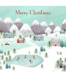 Ice Skating Scene - Small Christmas Card Pack