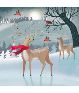 Deer in the Winter Forest - Small Christmas Card Pack