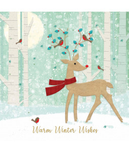 Deer with Red Scarf - Small Christmas Card Pack