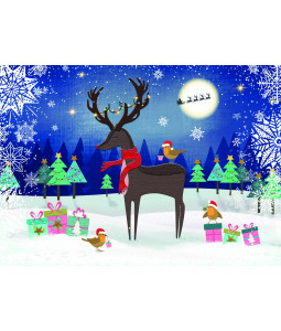 Snowy Night Reindeer - Christmas Card Pack
