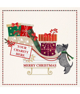 A Christmas card pack with a Scottie dog and a sleigh full of presents