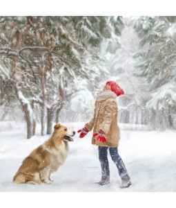 Let's Play in the Snow - Large Christmas Card Pack