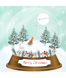 Snow Globe Fox - Small Christmas Card Pack