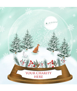 A Christmas card pack with a Fox in a Snow globe,