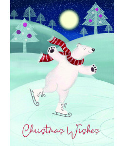 Polar Bear Ice Skating - Christmas Card Pack
