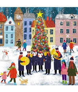 Brass Band by the Tree - Small Christmas Card Pack