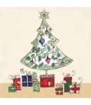 A Christmas card pack with an image of a tree with gifts under