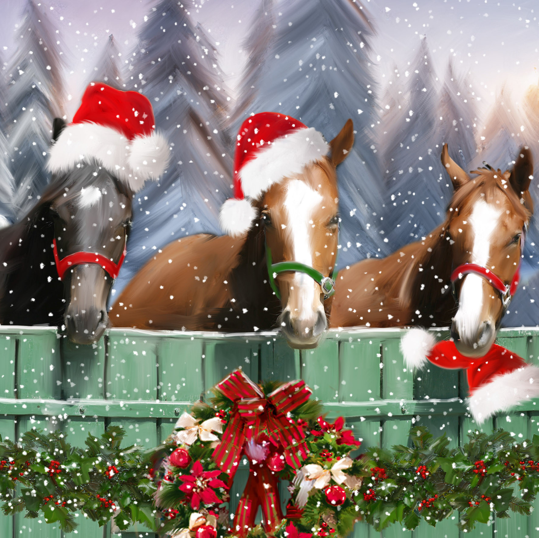 Festive Horses Large Christmas Card Pack Christmas Card Printers