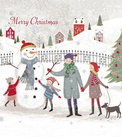 Building Snowman - Christmas Card Packs - Family & Children