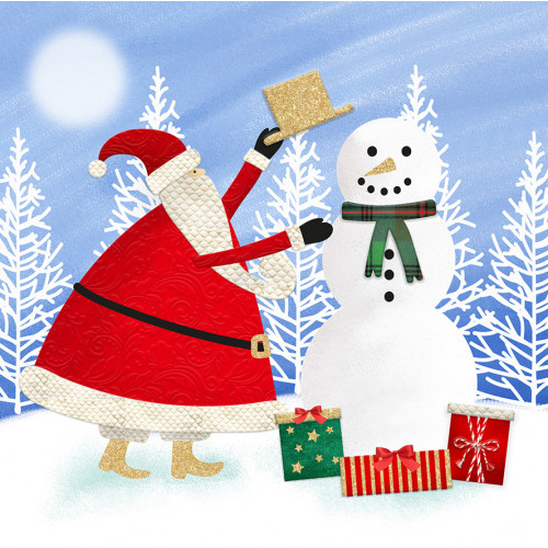 Snowman Hat- Christmas Card Packs - Santa and Snowmen